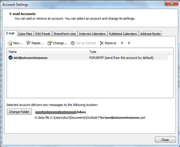 how to delete my outlook express email account